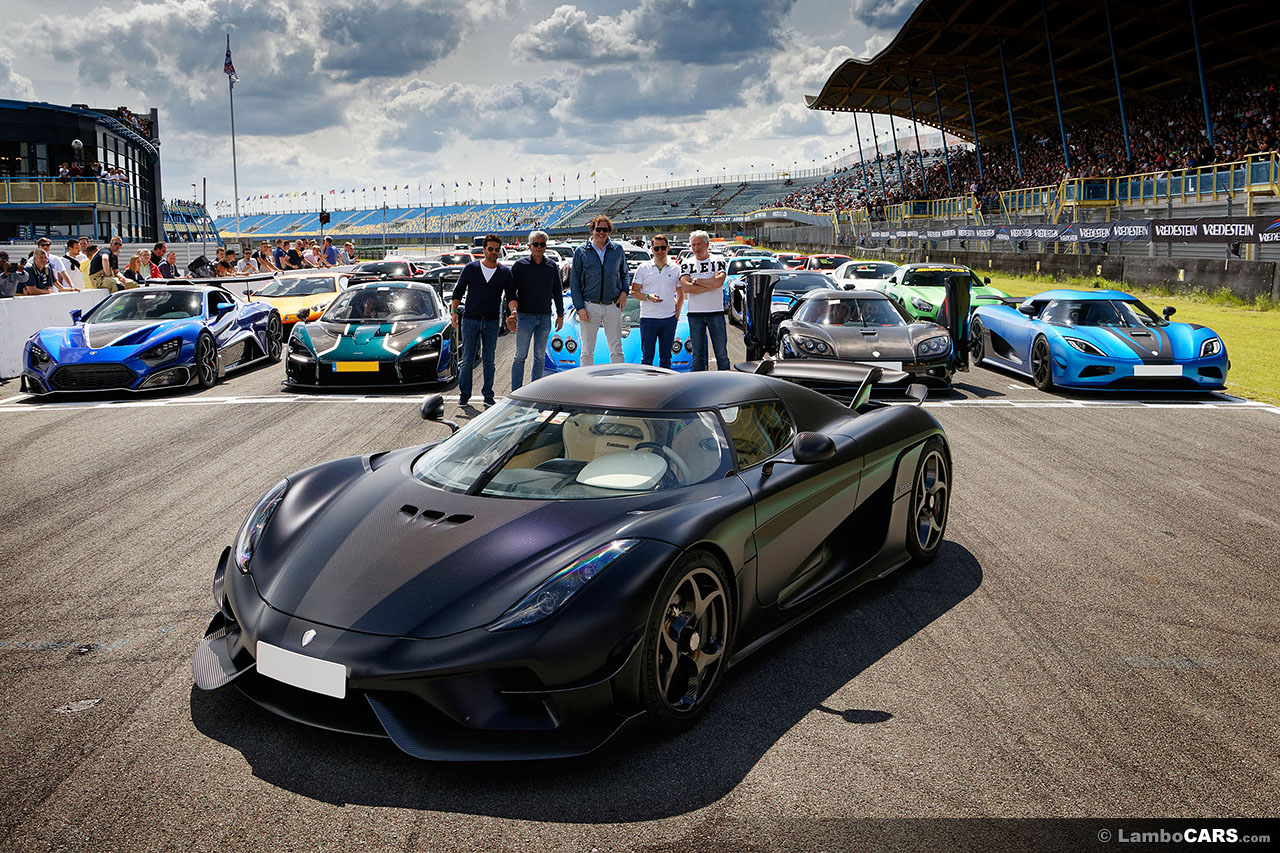 The hyper car lineup during Super Car Sunday in Assen posing on the straight.Image Copyright: Mark Smeyers