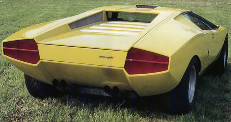 Rear view of the countach prototype in yellow