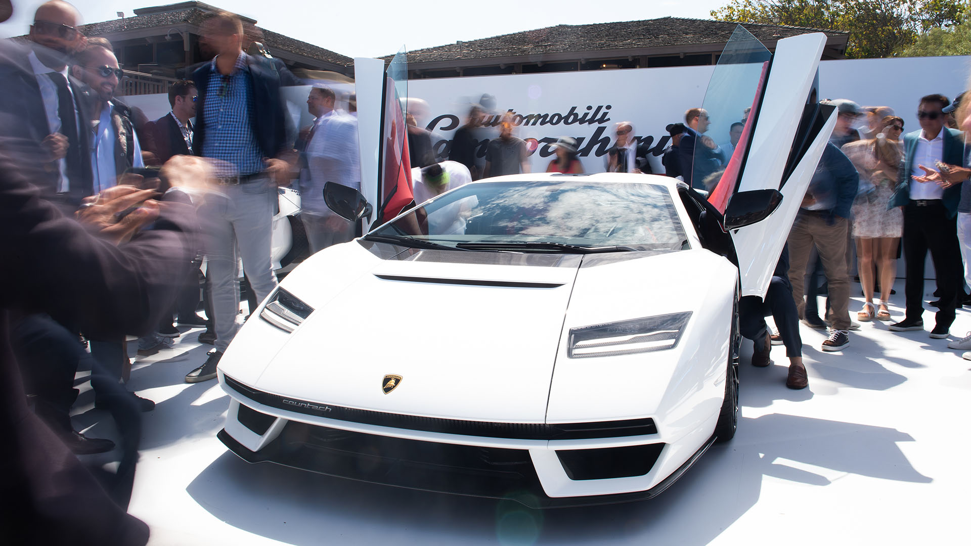 The unveiling of the Lamborghini Countach at Monterey Car Week