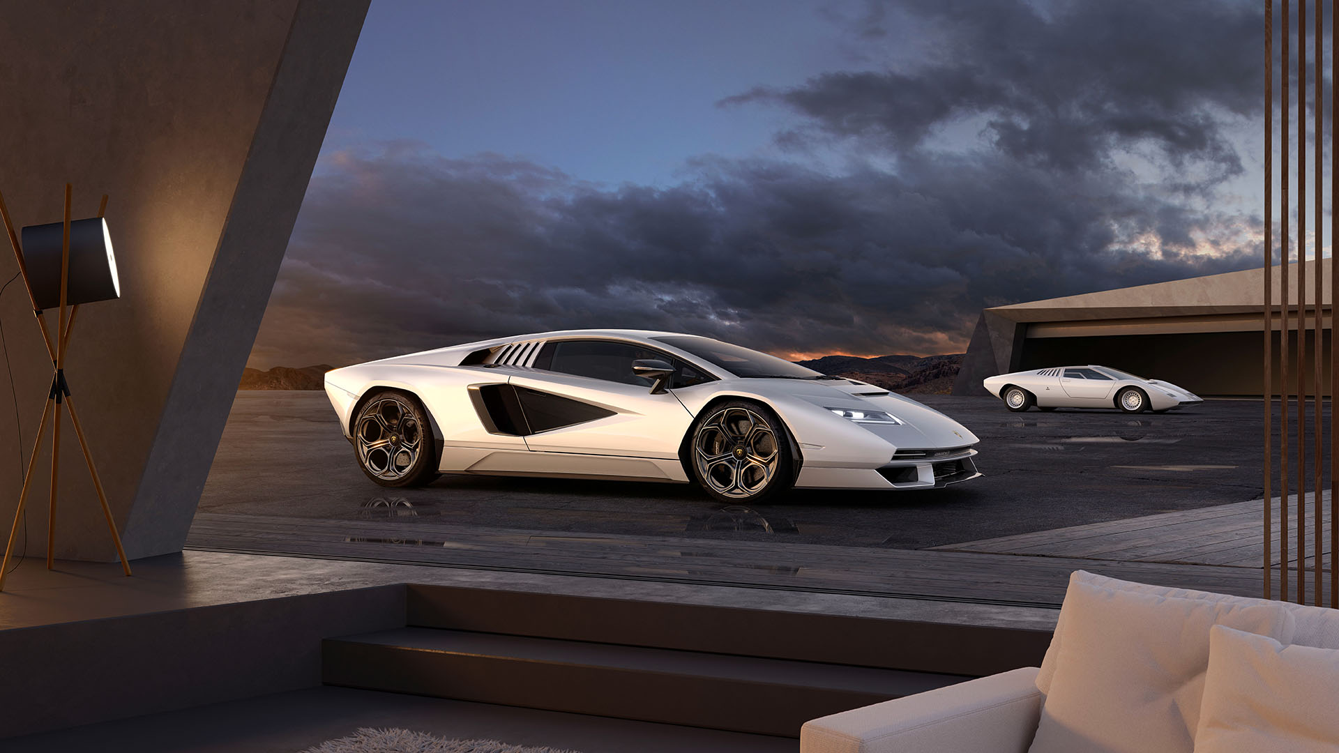 Official photo of the old and new Countach