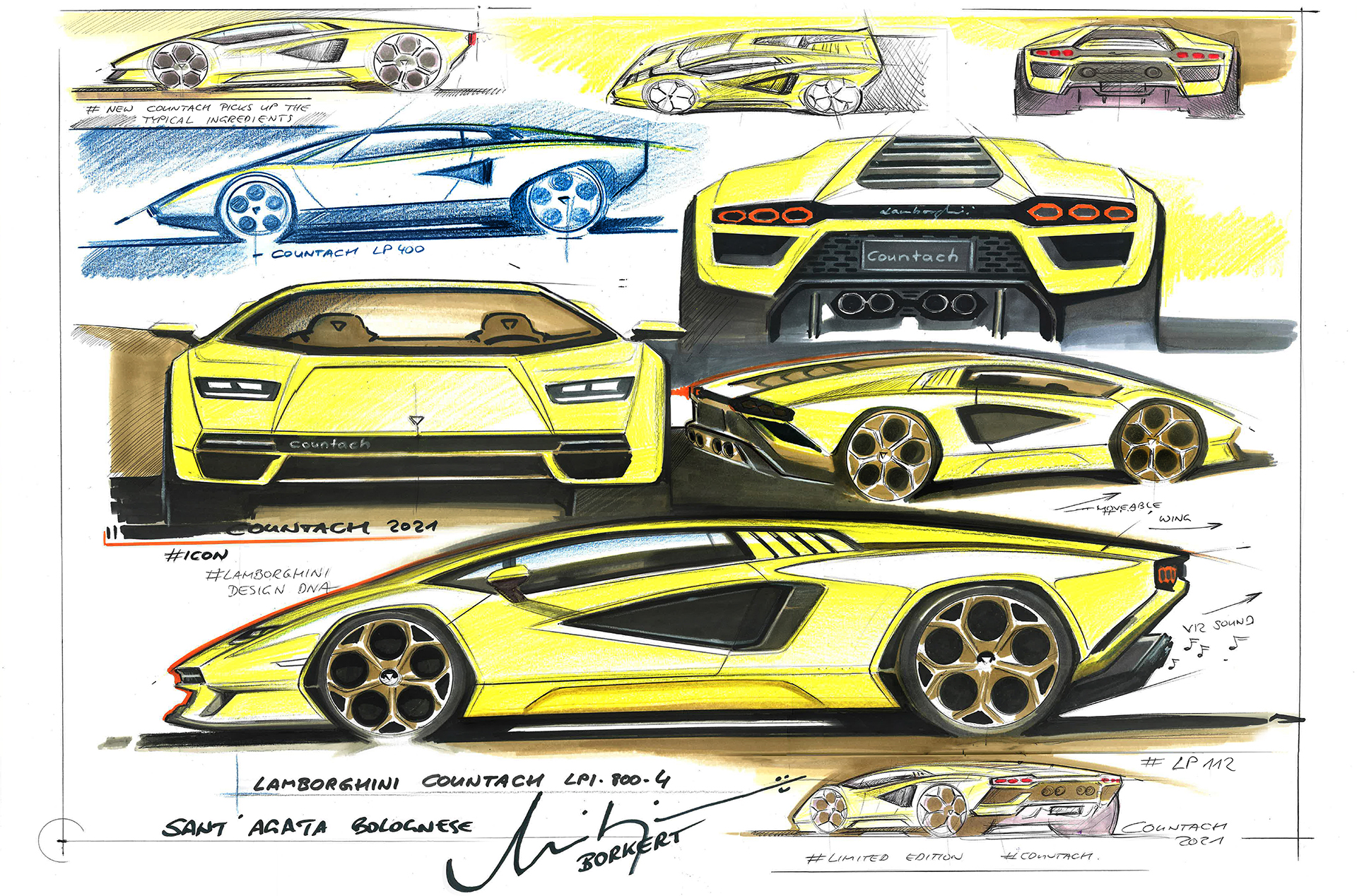 Concept drawings of the new Countach LP 400