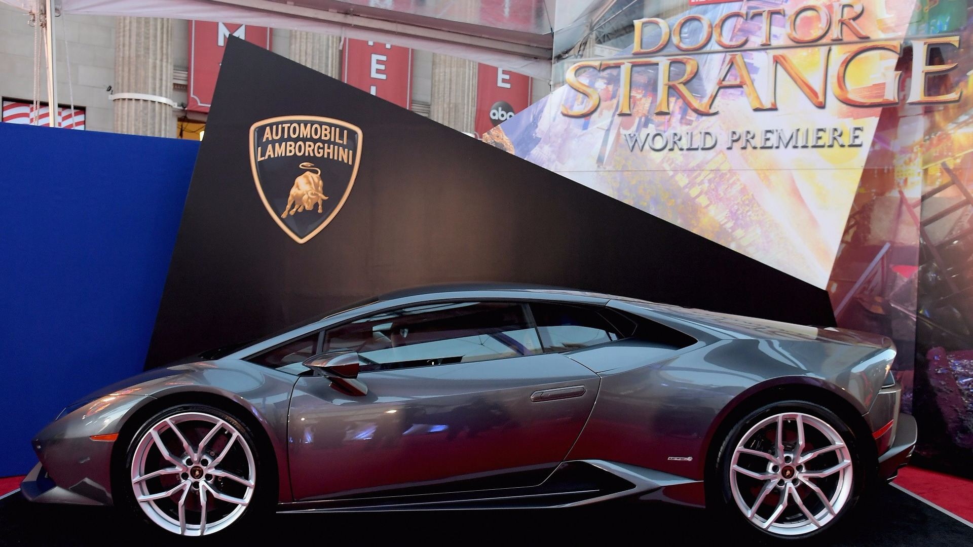 Lamborghini Huracan Coupe sitting on red carpet at movie premiere
